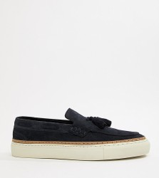 ASOS DESIGN loafers in navy suede with white sole - Navy