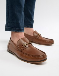 ASOS DESIGN Loafers In Tan Leather With Snaffle - Tan