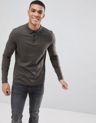 ASOS DESIGN long sleeve jersey polo in khaki - Green