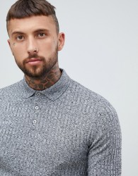ASOS DESIGN long sleeve polo shirt in heavy rib - Grey