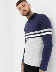 ASOS DESIGN long sleeve polo shirt with contrast body and sleeve panels in navy/grey - Grey
