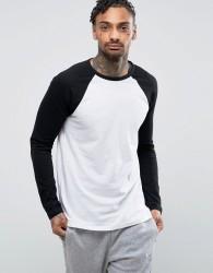 ASOS DESIGN Long Sleeve T-Shirt With Contrast Raglan Sleeves - White