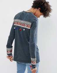 ASOS DESIGN longline long sleeve t-shirt with back and cuff aztec taping - Grey