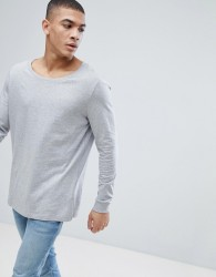 ASOS DESIGN longline long sleeve t-shirt with scoop neck in grey - Grey