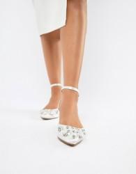 ASOS DESIGN Love Lock Embellished Ballet Flats - White