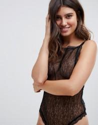 ASOS DESIGN Lucia Delicate lace bodysuit - Black