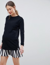 ASOS DESIGN Maternity 2 In 1 sweat dress with stripe pleated hem - Black