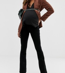 ASOS DESIGN Maternity bell flare jeans in clean black with pressed crease and side bump band - Black