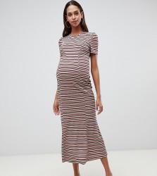 ASOS DESIGN Maternity city maxi dress in stripe rib - Multi