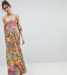 ASOS DESIGN Maternity Cuban Tile Print Off Shoulder Bardot Frill Maxi Beach Dress - Multi