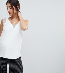 ASOS DESIGN Maternity deep plunge lace insert camisole vest in white - White