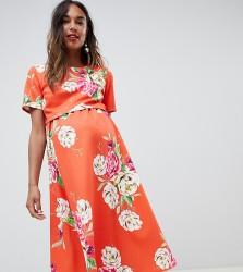ASOS DESIGN Maternity double layer midi dress in floral print - Multi