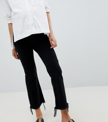 ASOS DESIGN Maternity Egerton rigid cropped flare jeans in washed black with raw hem with side bump band - Black