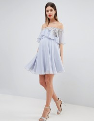 ASOS DESIGN Maternity embellished bandeau crop top skater mini dress - Multi