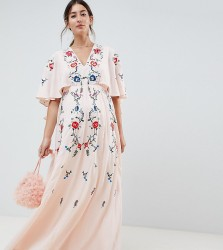 ASOS DESIGN Maternity embroidered maxi dress with flutter sleeve - Cream