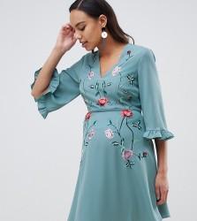 ASOS DESIGN Maternity embroidered ruffle sleeve mini dress - Multi
