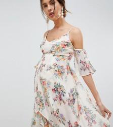 ASOS DESIGN Maternity floral flutter sleeve maxi dress - Multi