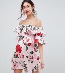 ASOS DESIGN Maternity floral ruffle shift off shoulder mini dress - Multi