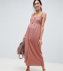 ASOS DESIGN Maternity Linen Button Through Maxi Dress - Pink