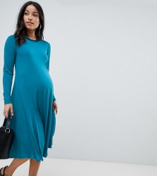 ASOS DESIGN Maternity midi swing dress with long sleeves in slinky crepe - Green