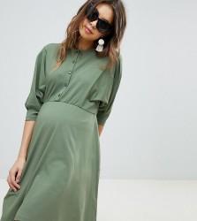ASOS DESIGN Maternity nursing batwing skater dress with button through - Green