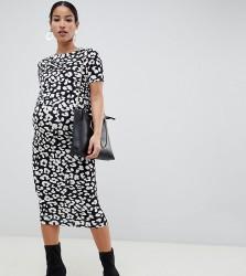 ASOS DESIGN Maternity nursing double layer bodycon dress in mono animal print - Multi
