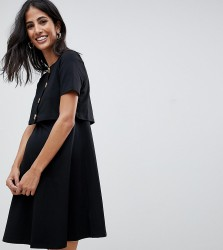 ASOS DESIGN Maternity nursing double layer smock dress with faux tortoiseshell buttons - Black