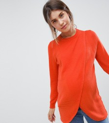 ASOS DESIGN Maternity Nursing eco wrap jumper in ripple stitch - Red