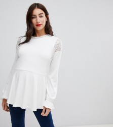 ASOS DESIGN Maternity nursing smock with lace inserts - Cream