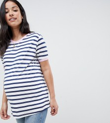 ASOS DESIGN Maternity nursing stripe t-shirt with contrast binding - Navy