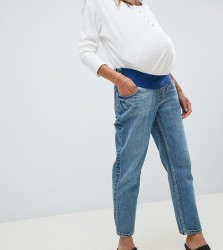 ASOS DESIGN Maternity Recycled Florence authentic straight leg jeans in dark stonewash blue with under bump waistband - Blue