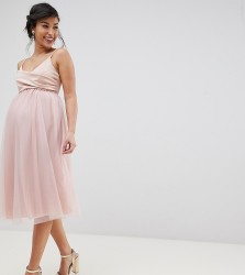 ASOS DESIGN Maternity Scuba Top tulle wrap midi dress - Pink
