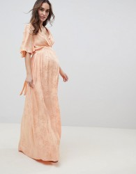 ASOS DESIGN Maternity Soft Jacquard Maxi Dress With Flutter Sleeve - Orange