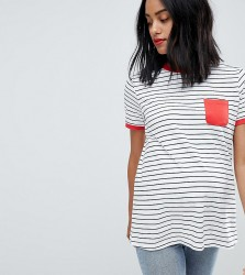ASOS DESIGN Maternity stripe t-shirt with contrast pocket and contrast binding - Multi