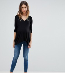 ASOS DESIGN Maternity Tall Ridley high waist skinny jeans in bright blue wash with over the bump waistband - Blue