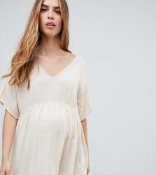 ASOS DESIGN Maternity v neck tee in crinkle - Cream
