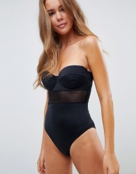 ASOS DESIGN mesh insert underwired cupped swimsuit in black - Black