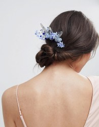 ASOS DESIGN Metal Leaf Jewel And Pearl Floral Hair Clip - Multi