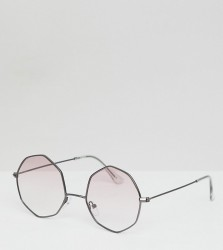 ASOS DESIGN metal oxtagon round sunglass in gunmetal with pink grad lens - Grey