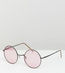 ASOS DESIGN Metal Round Sunglasses In Gunmetal - Grey
