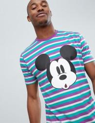 ASOS DESIGN Mickey relaxed colour pop stripe t-shirt - Multi