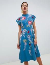 ASOS DESIGN midi dress with rose embroidery - Blue