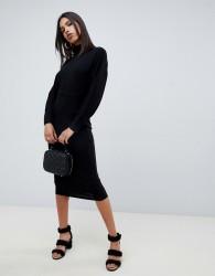 ASOS DESIGN midi dress with self fabric belt - Black