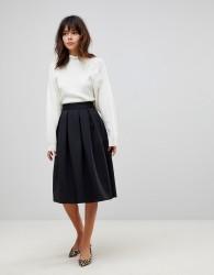 ASOS DESIGN midi prom skirt in scuba - Black