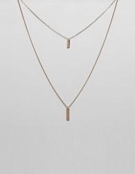 ASOS DESIGN Mini Rectangle Tag Multirow Necklace - Gold