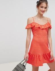 ASOS DESIGN mini sundress with frill open back in polka dot - Multi