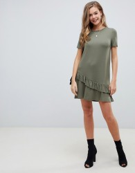 ASOS DESIGN mini t-shirt dress with drop ruffle hem - Green