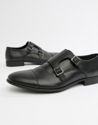 ASOS DESIGN monk shoes in black faux leather with emboss panel - Black