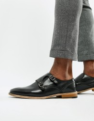 ASOS DESIGN monk shoes in black leather with natural sole - Black