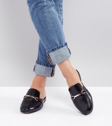ASOS DESIGN Movie Wide Fit Leather Mule Loafers - Black